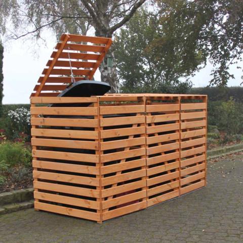 Mülltonnencontainer für drei Mülltonnen -  honigbraun