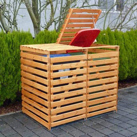 Mülltonnencontainer für  2 Tonnen - honigbraun