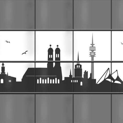 Weich PVC Sichtschutz mit München Skyline