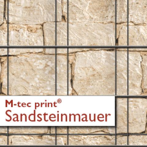 Bedruckte PVC Zaunstreifen Motiv Sandsteinmauer