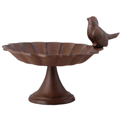 Kleine Vogeltränke aus Gusseisen - rost-braun