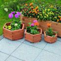 Pflanzkasten groß mit dreier Set Blumenkübeln