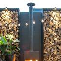 Ofenrohre mit Regenkappe in schwarz