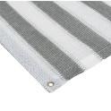 Balkonsichtschutz grau weiß  mit Ösen gestreift