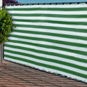Balkonblende grün - weiß gestreift mit Ösen