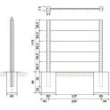 Betonzaun Motiv Flagstone - Aufbaumaße