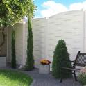 Betonzaun Flecht Motiv Weiß mit Bogenelement