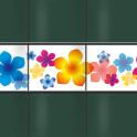 Dekorativer Weich PVC Sichtschutz mit dem Motiv Bunte Blumen