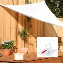 Dreiecksonnensegel mit Regenschutz in weiß