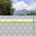 PVC Sichtschutz-Gartenzaun mit dem Motiv Edelweißwiese