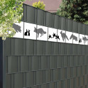 Sichtschutzmotiv Fuchs und Hase in der Zaunanlage