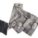 3 Sichtschutzstreifen PVC Motiv Granitmauer mit Klemmschienen