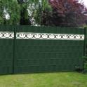 Sichtschutzzaun M-tec Profi-line ® moosgrün +  M-tec design Streifen Prag