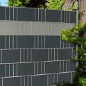 Gittermattenzaun mit Hart - PVC Zaunblendenstreifen anthrazit - Steingrau