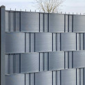Gittermattenzaun mit Hart PVC Sichtschutz Anthrazit - Steingrau