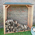Kaminholzdach Typ Franken - Brennholz im Garten
