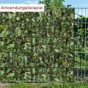 Sichtschutzstreifen Motiv Kirschlorbeer - Anwendung im Zaun