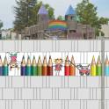 Dekorative Kindercollage im Gittermattenzaun