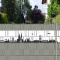 Stabgittermattenzaun mit Kölner Stadtbild