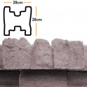 Betonzaunsystem Zwischenpfostenkappe Mediterran Nostalgie grau-braun 20x10x20