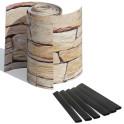 3 Zaunblendenstreifen PVC Motiv Sandstein Tessin mit Befestigungsklemmen
