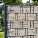 Sichtschutzzaun mit M-tec print® bedruckte Sandstein