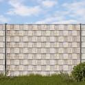 Doppelstabmattenzaun Set mit Hart-PVC print Streifen Sandsteinmauer