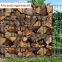 Sichtschutzstreifen Motiv Kaminholz - im Doppelstabmattenzaun