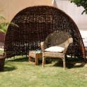 Strandmuschel aus Weidengeflecht - Gemütlich im Garten