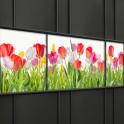 Weich PVC Sichtschutzstreifen mit einer Tulpenwiese