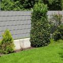 Zaunanlage mit PVC Sichtschutz Steingrau
