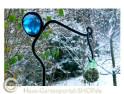 Gartenrankstange - handgeschiedet mit blauer Kugel